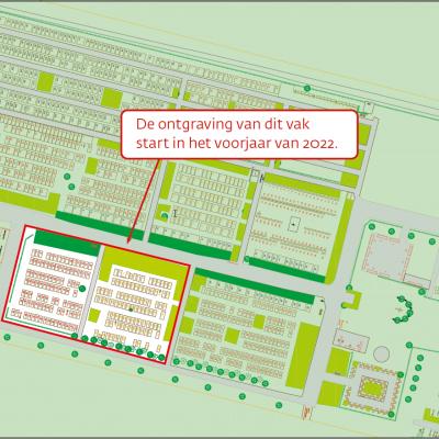 plan kerhof Sint-Antonius | ontgraving start voorjaar 2022: als ingang links is, gaat het om vak onderaan links