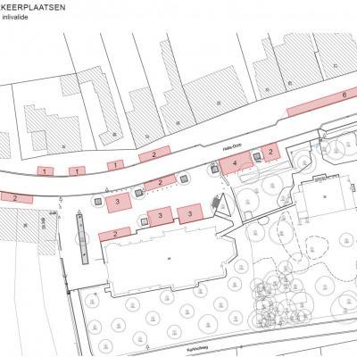 bestaande parkeerplaatsen Halledorp