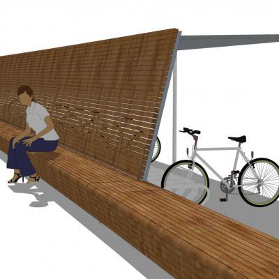fietsenrek met zitbank aan andere kant