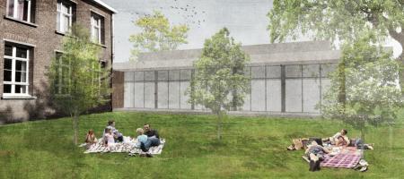 een 3D-beeld van de tuin van de dorpszaal en achterzicht van de nieuwe dorpszaal