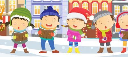 tekening van kindjes die nieuwjaarsliedjes zingen in de sneeuw