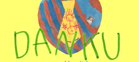 kindertekening met 'Dank U' erop geschreven