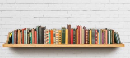 rek vol met boeken tegen witte achtergrond