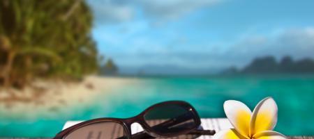 zonnebril ligt op een boek, met palmbomen, strand en zee in de achtergrond
