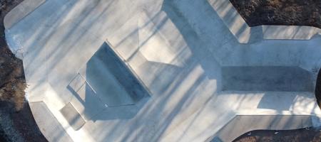 luchtfoto van skatepark 'Turtle Yard'