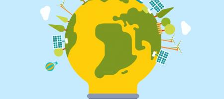 lamp in de vorm van wereldbol vertoont alle middelen waarmee groene energie opgewekt wordt