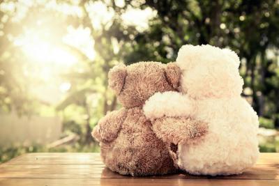 twee teddyberen geven elkaar een knuffel