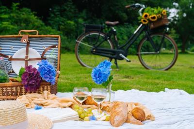 een picknickdeken vol met lekkernijen staat klaar voor een fietser