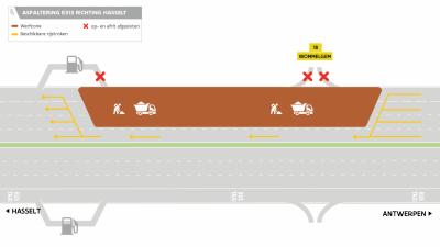 grafische voorstelling van de geplande werken op de E313