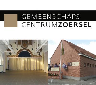 logo gemeenschapscentrum Zoersel met beeld van de Kapeel en de Bijl