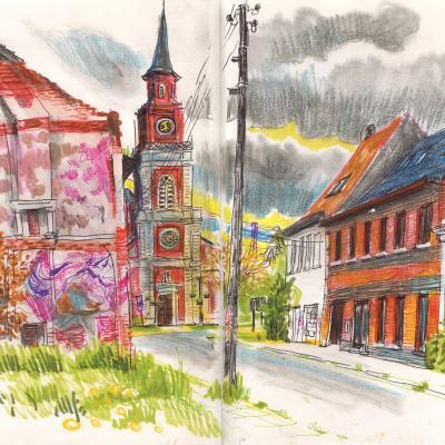 tekening van dorpszicht Doel