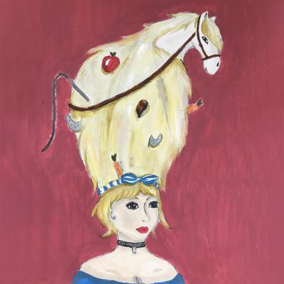 portret met hoed